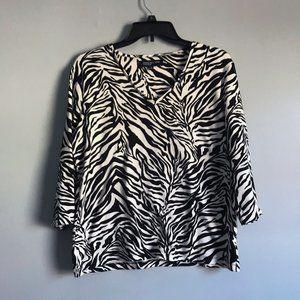 Jones New York 3/4 sleeve v-neck zebra top XL